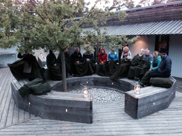 Picture 6: Welcome with hot tea in the Collaboratory circle at Ekskäret island